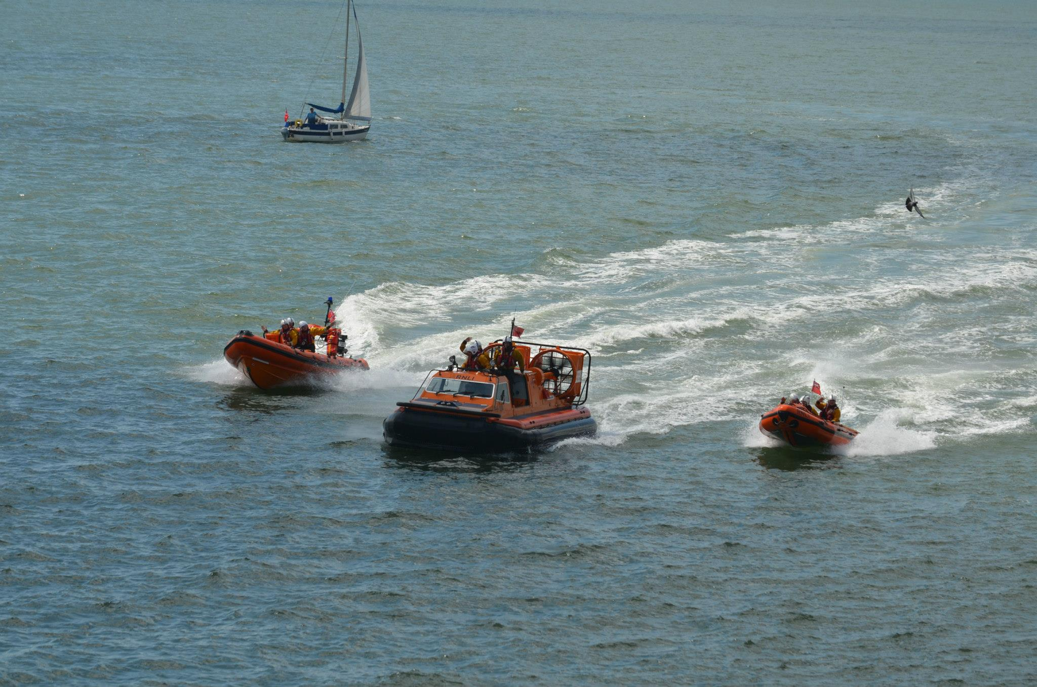 All three boats in action